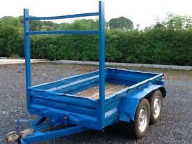 TRAILER 8ft5''by 4ft8'' STEEL BUILDERS TRAILER ON SPRINGS WOODEN FLOOR LADDER RACK MUDGUARDS LIGHTS