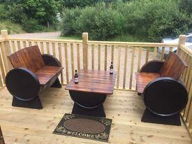 Oak barrel garden furniture set for the garden patio bar