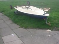 Sailing boat with 2 trailers,sail and rudder bargain £150