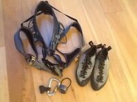Petzl corax climbing harness plus caribiner and belay device and size 8 Red Chili climbing shoes