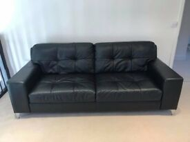 3 Seater 100% Real black leather sofa for sale
