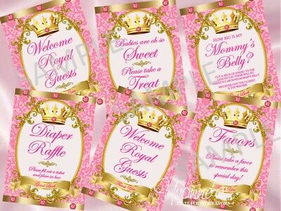 Little Royal Princess Baby Shower Party Signs/Dessert Table/Game Signs(set of 6) (New Little Princess Baby Shower)