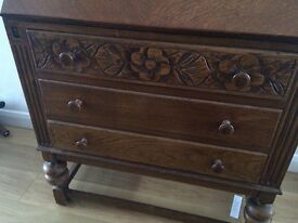 Vintage oak bureau/bookcase.