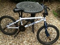 X rated bmx bike blue tyres, twin brakes, fitted stunt pegs
