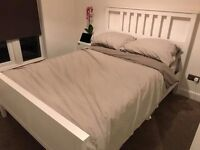 Double bed frame with almost new mattress