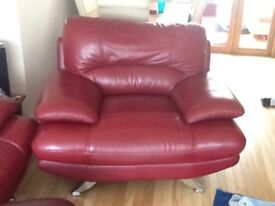 3 piece Suite in Red Leather - Large Chair, 2 Seater & 3 Seater very good condition