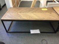 Nottingham parquet coffee table , polished pine