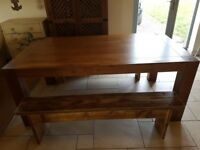 solid mango wood table and 2 rustic benches