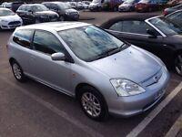 2002 02 Reg Honda Civic 1.6i VTEC SE Sport, Automatic, Petrol, 3 Door, Metallic Silver