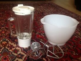 Kenwood chef attachments glass Jug,Glass Bowl.pluss 2 Hooks all in good condition