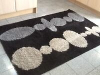 Ikea black grey and cream circle rug