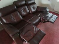 MARKS & SPENCERS BROWN LEATHER 3+1 SEATER RECLINER SOFAS-MUST GO TODAY TODAY -CHEAP DELIVERY - £295