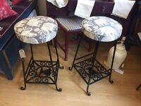 Lovely pair of Re-upholstered Bar Stools