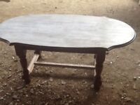 Oak coffee table with drawer underneath .550mm x1100mm in size.Secondhand.Fair condition.