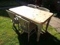 Painted pine table & 4 solid chairs.