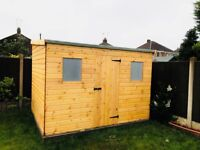 10X8FT HEAVY DUTY REVERSE PENT TIMBER GARDEN SHED