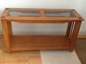 Console Table. Wood with glass top.