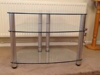 Clear 3 Tier Glass TV Stand
