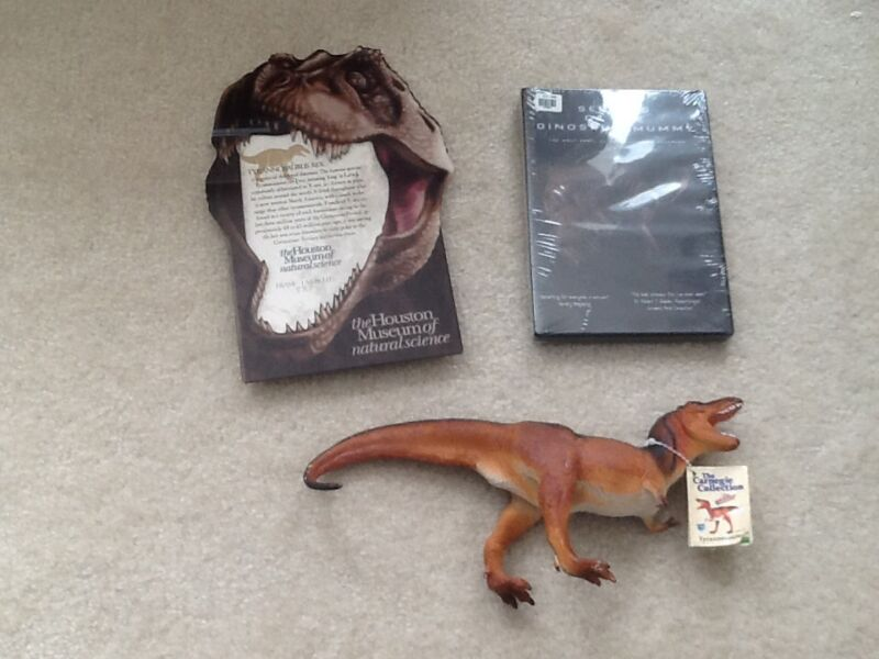 NEW LOT Houston museum of Natural science t-Rex picture frame DVD figure NWT