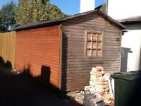 Shed/office in log lap with apex roof.size in metres 2.4d 4.6l and 2.3h FREE OF CHARGE