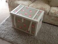 Dungelm Mill large trunk floral fabric with white straps
