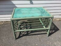 Green wicker coffee table