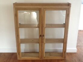 Vintage style pine glass unit