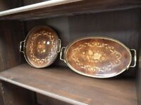 Wood and Brass Serving Trays Delivery available