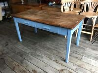 Dining Table With Painted Blue Base