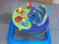 Baby walker with battery operated musical and toy console-seat is padded and cushio