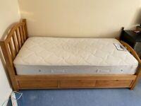 Single pine bed with three draws and sleepeezee memory comfort 800 mattress