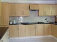 Shaker style kitchen units and worktops.