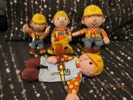LARGE SELECTION OF BOB THE BUILDER ITEMS SOFT TOYS ,PJ CASE , PENCIL CASE AND TRUCKS