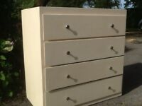 2x 4 drawer solid wood storage units. Currently painted cream, No MDF/Chipboard