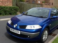 Renault Megane Cabriolet Convertible Blue, MOT until April 2017, Serice History available