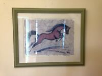 Signed framed Terry Kirkwood 'Agility' equestrian horse print picture