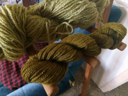 hand-dyed green skeins- alpaca and wool