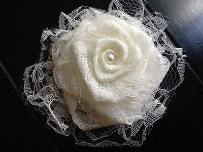 Shabby Chic Wedding - Lace Flower Ivory Burlap Shabby Chic Cottage Wedding Outdoor Table Centerpiece