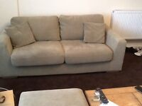 Three piece suede sofa