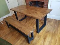 Handmade New Farmhouse Handmade Reclaimed Dining Table and Bench 160cm x 88cm Free Delive