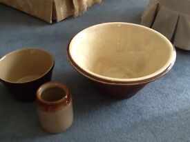 Pancheon, stone ware jar and stoneware bowl