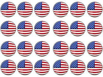 24 USA American Flag 4th July Thanks Giving Cup Cake Toppers Edible Rice Paper
