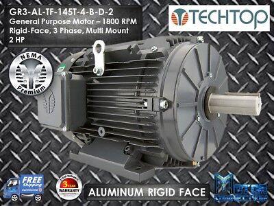 2 Hp Electric Motor Gen Purp 1800 Rpm 3-phase 145t Aluminum Nema Premium
