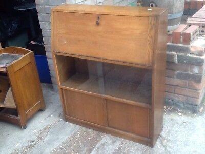 Slim Vintage Dark Wooden Bureau