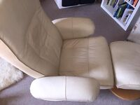 Retro Leather Swivel and Recline Arm Chairs (x2) and matching foot stool (x1)