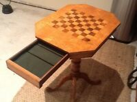 ANTIQUE YEW WOOD CHESS TABLE