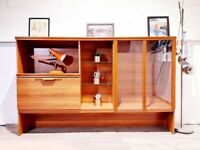 Vintage G Plan Style Mid Century Teak & Glazed Glass Slim Bookcase Sideboard Drinks Cabinet L004