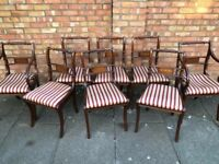 Antique Regency style dining set 8 chairs rope back support extendable dining table