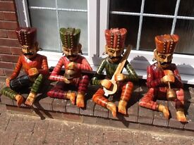 Indian Hand carved and painted 4 piece band