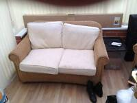 Wicker conservatory sofa 2 chairs table
